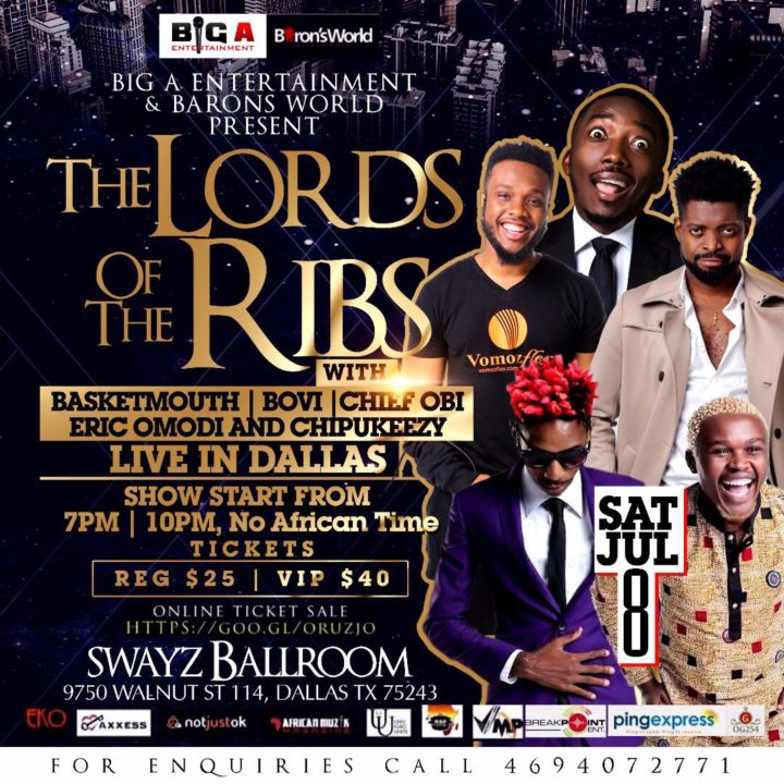 """Basketmouth & Bovi Live in Dallas This Staurday July 8 - """"The Lord of the Ribs"""""""